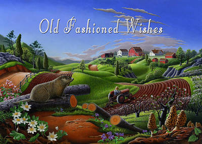 Groundhog Painting - no14 Old Fashioned Wishes 5x7 greeting card  by Walt Curlee