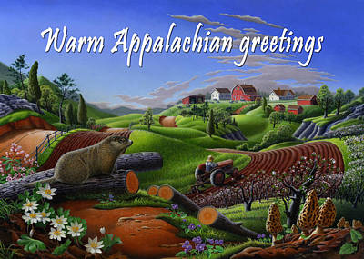 Groundhog Painting - no14 Warm Appalachian greetings 5x7 greeting card  by Walt Curlee