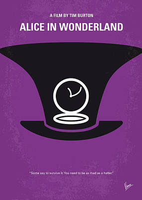 Tim Digital Art - No140 My Alice In Wonderland Minimal Movie Poster by Chungkong Art