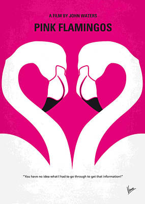 No142 My Pink Flamingos Minimal Movie Poster Art Print by Chungkong Art