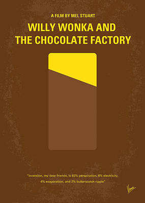 The Classic Digital Art - No149 My Willy Wonka And The Chocolate Factory Minimal Movie Poster by Chungkong Art