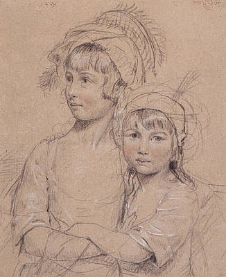 Sisters Drawing - No.1857 The Misses Rigby, The Two by John Downman