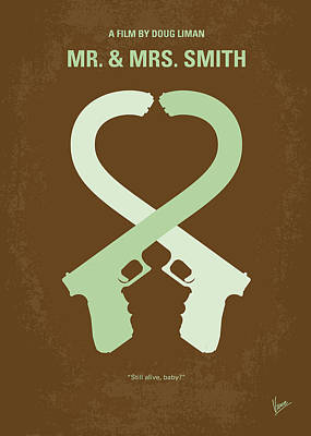 Fight Digital Art - No187 My Mr And Mrs. Smith Minimal Movie Poster by Chungkong Art