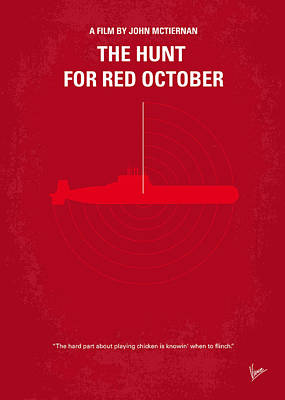 Dallas Digital Art - No198 My The Hunt For Red October Minimal Movie Poster by Chungkong Art