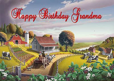 Dakota Painting - no2 Happy Birthday Grandma by Walt Curlee