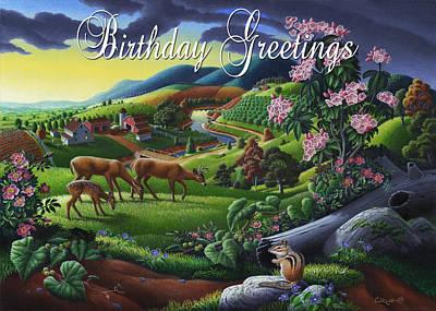 Muscadine Painting - no20 Birthday Greetings by Walt Curlee