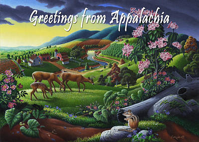 Mountain Laurel Painting - no20 Greetings from Appalachia by Walt Curlee