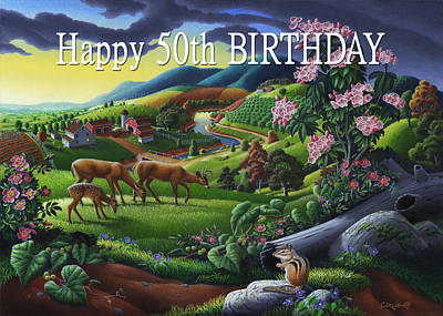 Mountain Laurel Painting - no20 Happy 50th Birthday by Walt Curlee