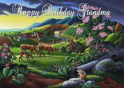 Grandmothers Birthday Painting - no20 Happy Birthday Grandma by Walt Curlee