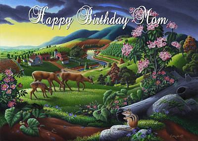Grandmothers Birthday Painting - no20 Happy Birthday Mom by Walt Curlee