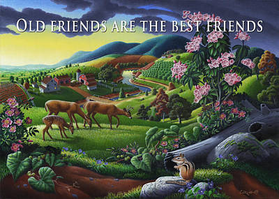Mountain Laurel Painting - no20 Old friends are the best friends by Walt Curlee