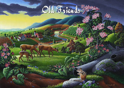 Mountain Laurel Painting - no20 Old Friends by Walt Curlee