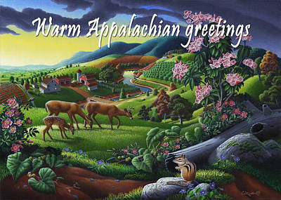 Mountain Laurel Painting - no20 Warm Appalachian greetings by Walt Curlee