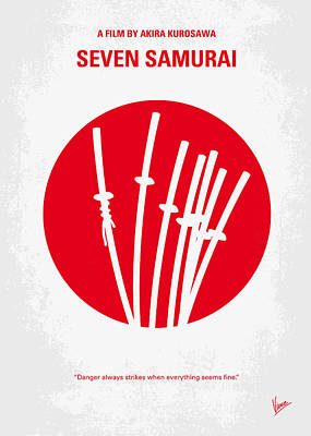 Samurai Digital Art - No200 My The Seven Samurai Minimal Movie Poster by Chungkong Art