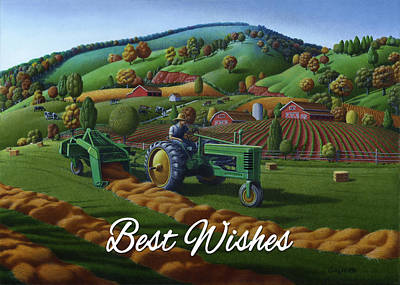 Bales Painting - no21 Best Wishes 5x7 greeting card  by Walt Curlee
