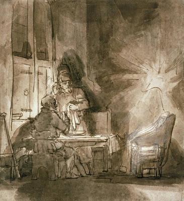 Shock Drawing - No.2139 Supper At Emmaus, C.1648-9 by Rembrandt Harmensz. van Rijn