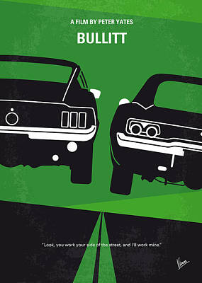 Time Digital Art - No214 My Bullitt Minimal Movie Poster by Chungkong Art
