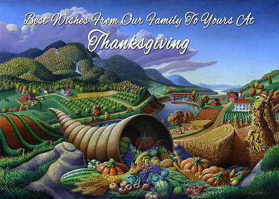 Horn Of Plenty Painting - no22 Best Wishes From Our Family To Yours At Thanksgiving by Walt Curlee