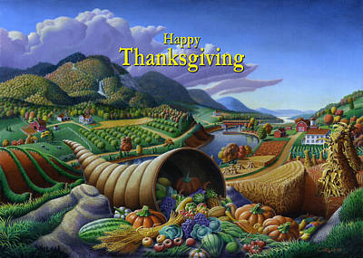 Horn Of Plenty Painting - no22 Happy Thanksgiving by Walt Curlee