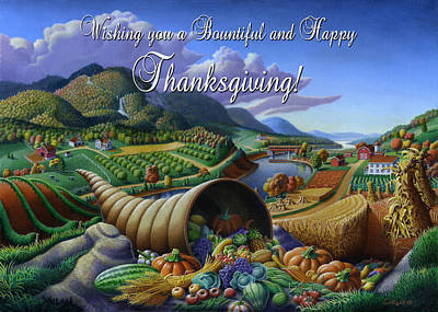 Horn Of Plenty Painting - no22 Wishing you a Bountiful and Happy Thanksgiving by Walt Curlee