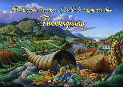 Horn Of Plenty Painting - no22 Wishing you blessings of health and happiness this Thanksgiving by Walt Curlee