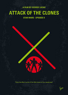 Darth Vader Digital Art - No224 My Star Wars Episode II Attack Of The Clones Minimal Movie Poster by Chungkong Art