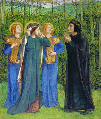 Angels Drawing - No.2292 The Salutation Of Beatrice by Dante Gabriel Charles Rossetti