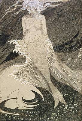 Wave Drawing - The Mermaid by Sidney Herbert Sime
