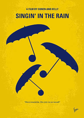 The Classic Digital Art - No254 My Singin In The Rain Minimal Movie Poster by Chungkong Art