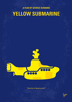 Band Digital Art - No257 My Yellow Submarine Minimal Movie Poster by Chungkong Art