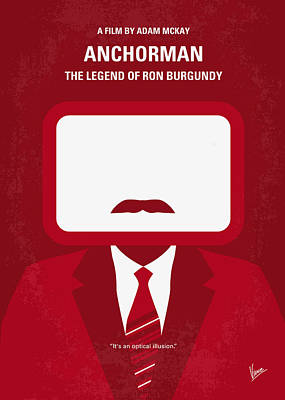 Idea Digital Art - No278 My Anchorman Ron Burgundy Minimal Movie Poster by Chungkong Art