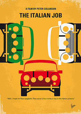 Designs Digital Art - No279 My The Italian Job Minimal Movie Poster by Chungkong Art
