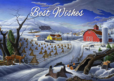 Folksie Painting - no3 Best Wishes  by Walt Curlee