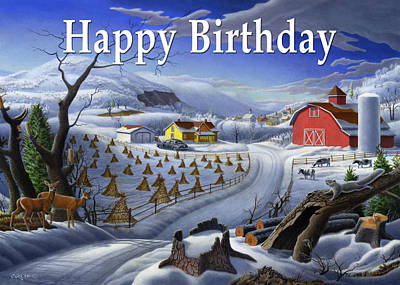 New England Snow Scene Painting - no3 Happy Birthday by Walt Curlee