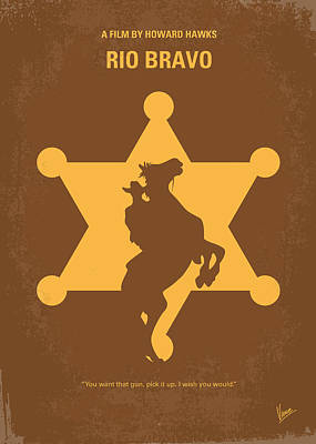 Wayne Digital Art - No322 My Rio Bravo Minimal Movie Poster by Chungkong Art