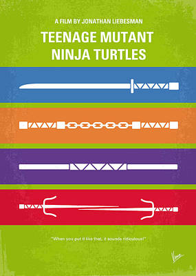 No346 My Teenage Mutant Ninja Turtles Minimal Movie Poster Art Print by Chungkong Art