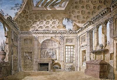 Ruin Drawing - Monastery Of St Trinita Del Monte by Charles Louis Clerisseau