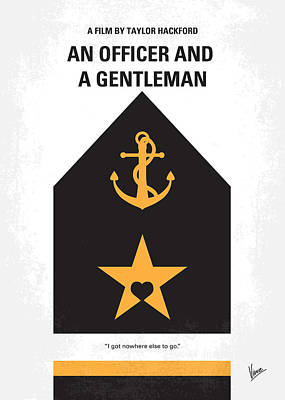 Gentlemen Digital Art - No388 My An Officer And A Gentleman Minimal Movie Poster by Chungkong Art