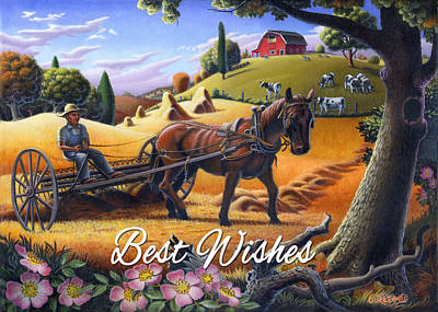Folksy Painting - no4 Best Wishes by Walt Curlee