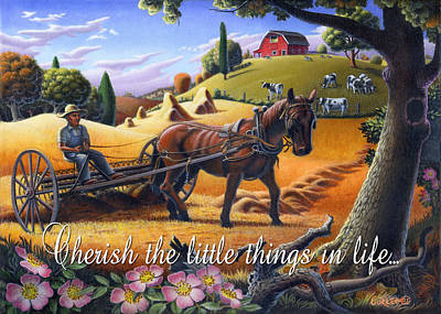 Folksy Painting - no4 Cherish the little things in life by Walt Curlee