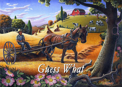 Folksy Painting - no4 Guess What by Walt Curlee