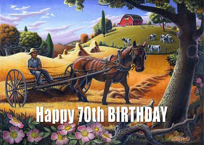 Folksy Painting - no4 Happy 70th Birthday by Walt Curlee