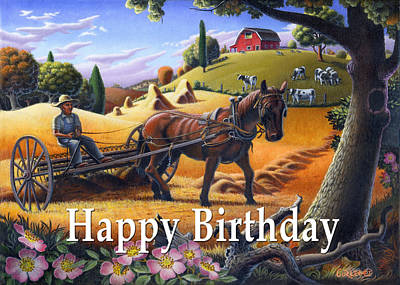 Folksy Painting - no4 Happy Birthday by Walt Curlee