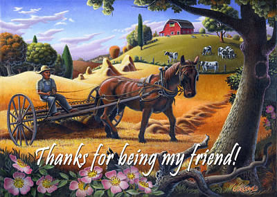 Folksy Painting - no4 Thanks for being my friend by Walt Curlee