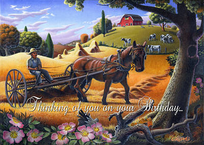 Folksy Painting - no4 Thinking of you on your Birthday by Walt Curlee