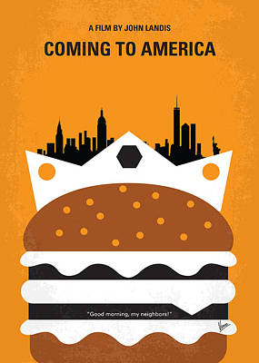 Times Square Digital Art - No402 My Coming To America Minimal Movie Poster by Chungkong Art