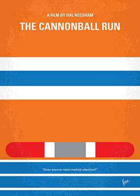 Shining Digital Art - No411 My The Cannonball Run Minimal Movie Poster by Chungkong Art