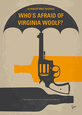 Clemson Digital Art - No426 My Whos Afraid Of Virginia Woolf Minimal Movie Poster by Chungkong Art