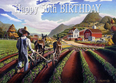 Folksie Painting - no5 Happy 50th Birthday by Walt Curlee