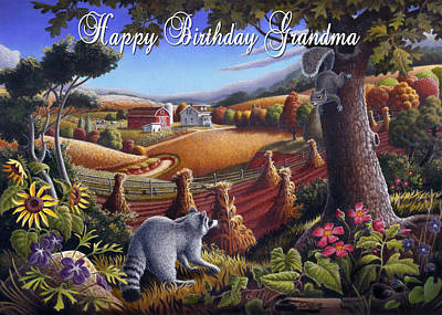 Grandmothers Birthday Painting - no6 Happy Birthday Grandma by Walt Curlee